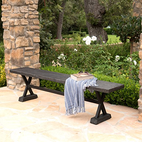 Cheap  Catelyn Outdoor Concrete and Steel Dining Bench (Grey)