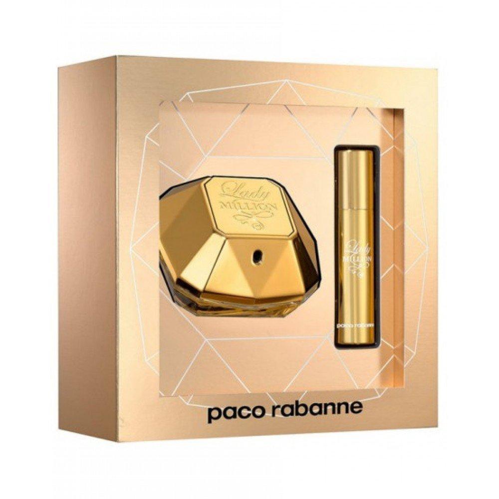 Lady Million by Paco Rabanne Eau de Parfum Spray 50ml & Travel Spray 10ml 3349668559046