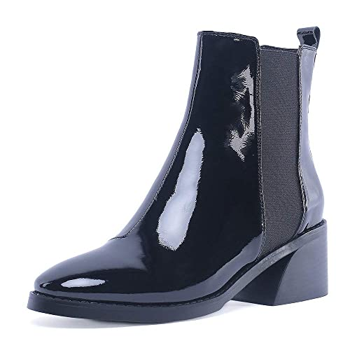 cbc0f25d9a1d AnMengXinLing Women Ankle Chelsea Boot Low Heel Slip On Patent Leather  Western Cowboy Short Booties Comfortable