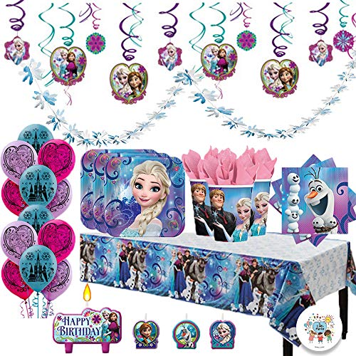Disney Frozen Deluxe MEGA Birthday Party Supplies Pack and Decorations for 16 includes Plates, Napkins, Cups, a Table Cover, a Candle, Swirl Decorations, Balloons, and a Snowflake Garland