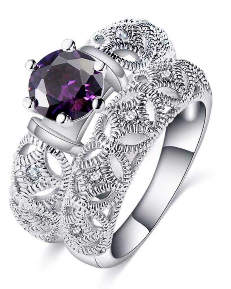 TEMEGO 14k Silver Wedding Ring Set, Round Purple CZ Amethyst Engagement Ring 2pcs Vintage Bridal Sets