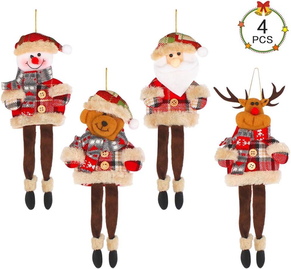 Oso y Reno Aipaide Mu/ñecas Colgantes para Navidad 4 Piezas Mu/ñecas para Decoraci/ón de /Árboles Adornos de Felpa Colgante de Navidad de 4 Estilos de Pap/á Noel Mu/ñeca de Nieve