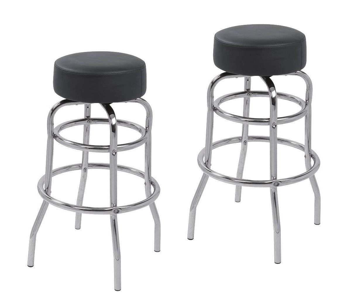 2 x PU Leather Swivel Commercial Grade Bar Stools Dining Chairs 5030 -Pack of 2 Black