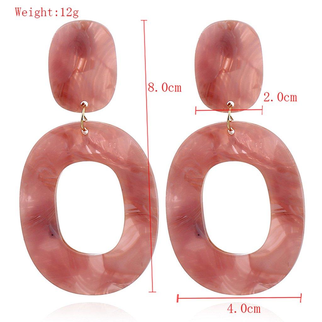 Amarzk 1 Paio di Orecchini Pendenti Vintage Colorati Geometrici ovali per Ragazze-Rosa