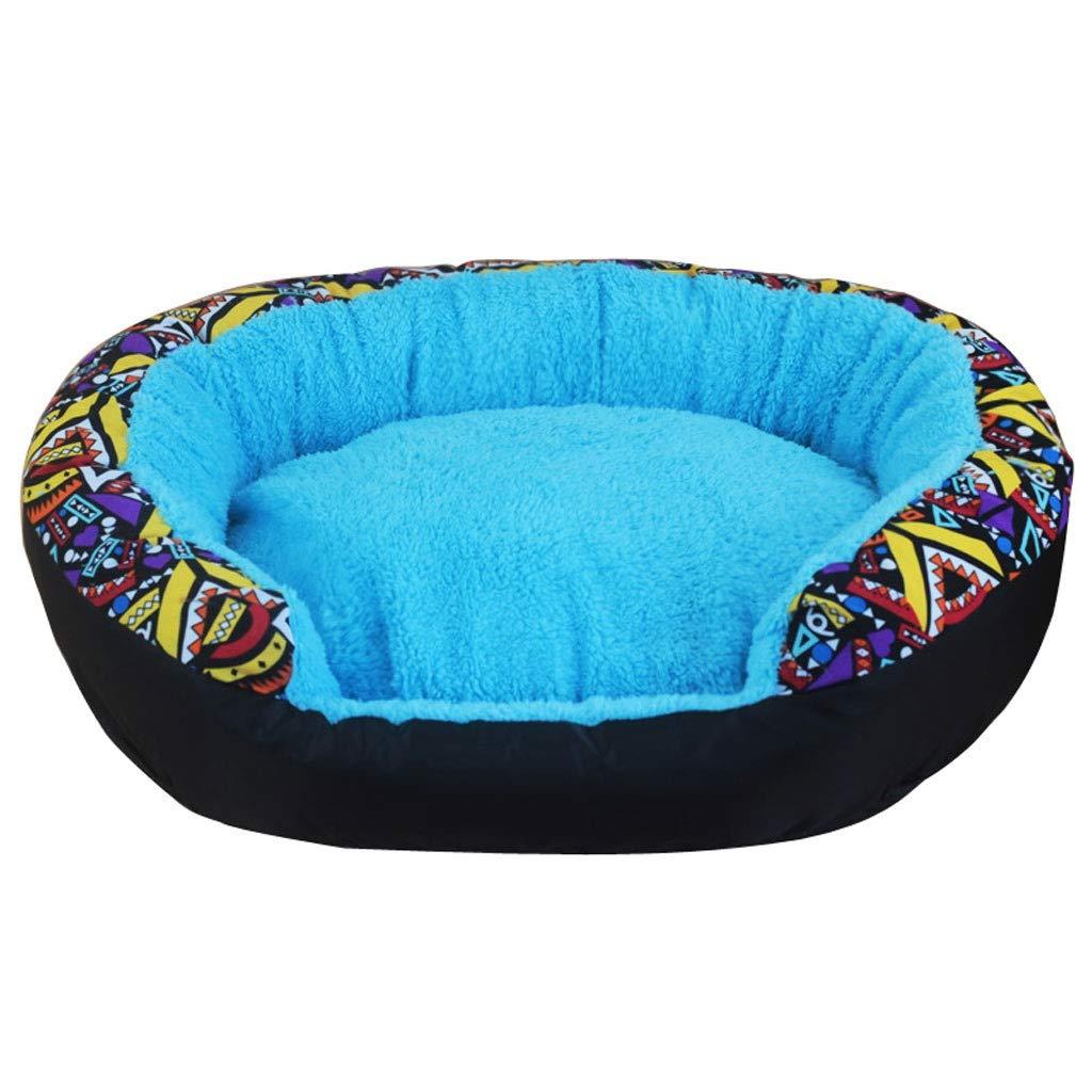 bluee 80×60cm bluee 80×60cm Stitched Cotton Velvet Pet Nest, Detachable Teddy Medium Small Cat Dog Bed, Four Seasons Universal Non-Slip Pet Mat (color   bluee, Size   80×60cm)