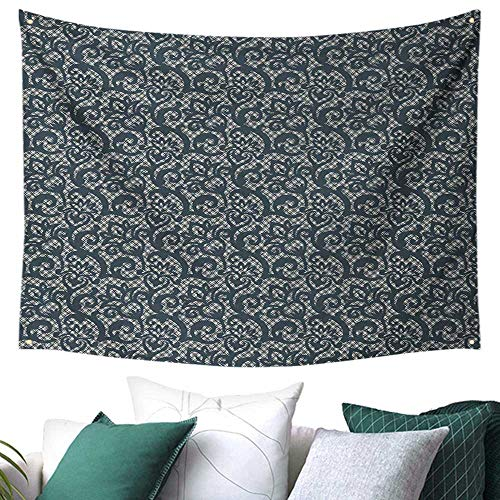 Teal Beach Wall Tapestry Lace Style Abstract Floral Ornament with Victorian Inspirations Vintage Illustration Dorm Living Room Bedroom Teal Beige 60W x 40L Inch
