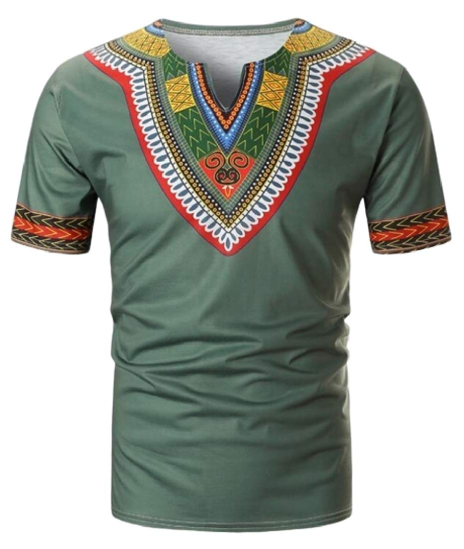 pipigo Mens African Print Dashiki Short Sleeve Fashion Casual V-Neck Blouse Tunic Tops Green S