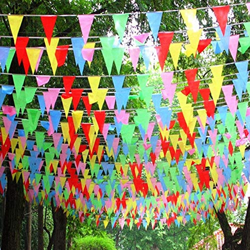 Streamers Confetti - Coloured Triangular Slik Flags And Banners Bunting Garland Birthday Graduation Party Decorations - Streamers Banners Streamers Confetti Banner Garland Paper Party Fabric Fl
