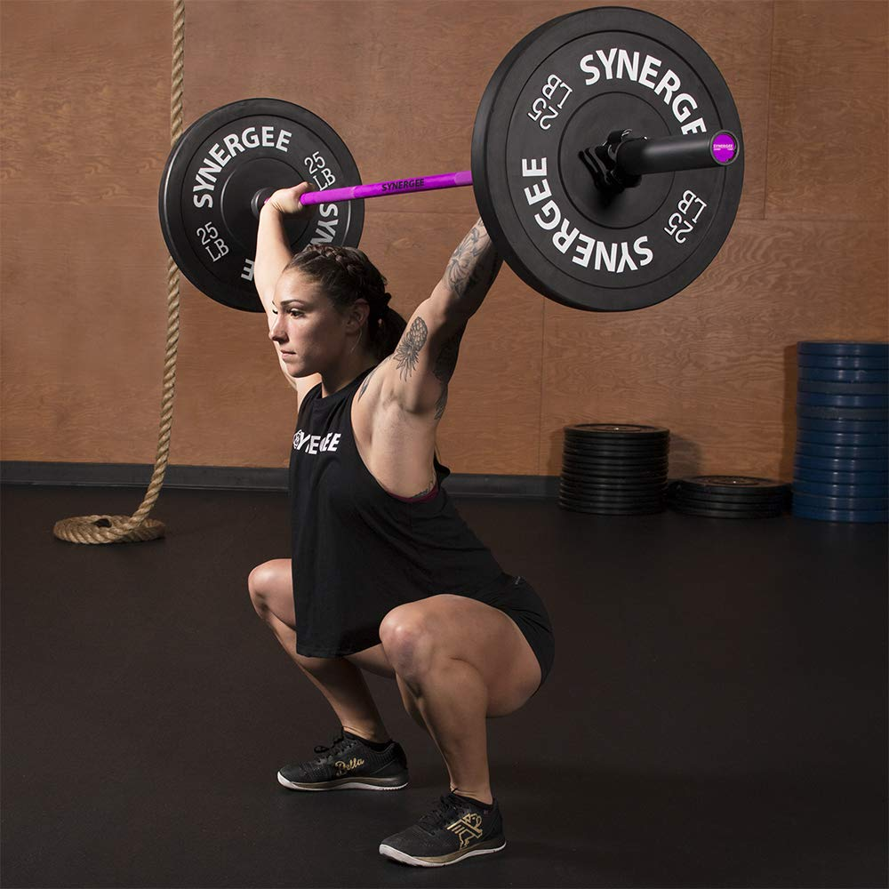 Synergee Games 15kg Colored Women's Pink Cerakote Barbell. Rated 1500lbs for Weightlifting, Powerlifting and Crossfit by Synergee (Image #6)