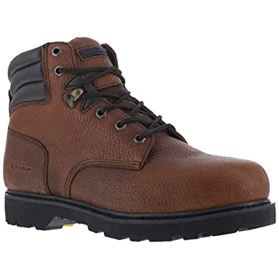 Knapp Mens Brown Leather 6in Work Boots Backhoe Steel Toe 6 M ef5ffb8874f4