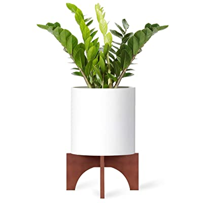 Mkono Plant Stand Wood Mid Century Flower Pot Holder (Pot Not Included) Home Decor Potted Rack Rustic Decor, Fits Up to 12 Inch Planter, Brown : Garden & Outdoor