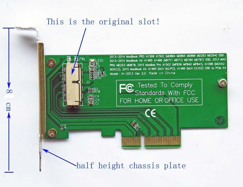SCHEDA ADATTATORE PCI-E PER HDD SSD APPLE 2013 2014 2015 MacBook Air Pro Retina SSD ICT
