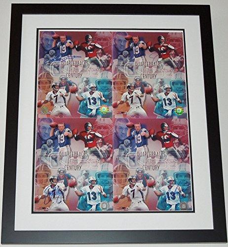 (Johnny Unitas, Dan Marino, Joe Montana, and John Elway Signed - Autographed Quarterbacks of the Century 8x10 inch Photos - Custom FRAMED - PSA/DNA Authentication)