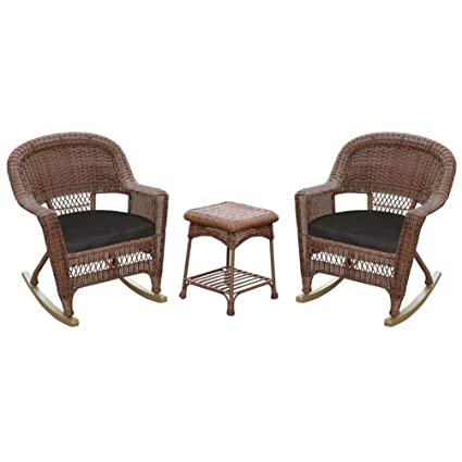 Bon Jeco 3pc Wicker Rocker Chair Set In Honey With Black Cushion
