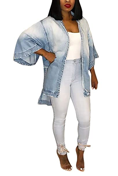 Vaqueras Jacket Mujer Primavera Otoño Fashion Denim Anchos Abrigos Elegantes Informales Vintage Mangas 3/4 Color De Degradado Abrigo De Jeans Outerwear: ...