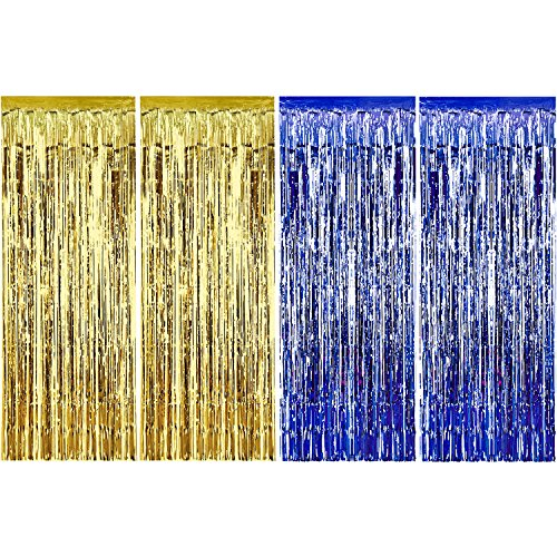 Sumind 4 Pack Foil Curtains Metallic Fringe Curtains Shimmer Curtain for Birthday Wedding Party Christmas Decorations (Blue and Gold) -