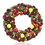 NICEXMAS 18in Wreath Christmas Decor + 30 Warm White LED Lights (Small Image)
