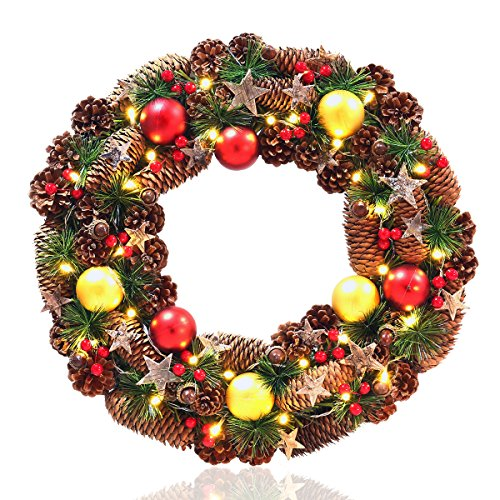Christmas Wreath, NICEXMAS 18-Inch Wreath Christmas Decoration with 30 Warm White LED Lights, Pinecones, Acorns, Red Berries, Gold and Red Balls and Stars, 8 Light Modes, Battery - Lights Christmas Blinking Background