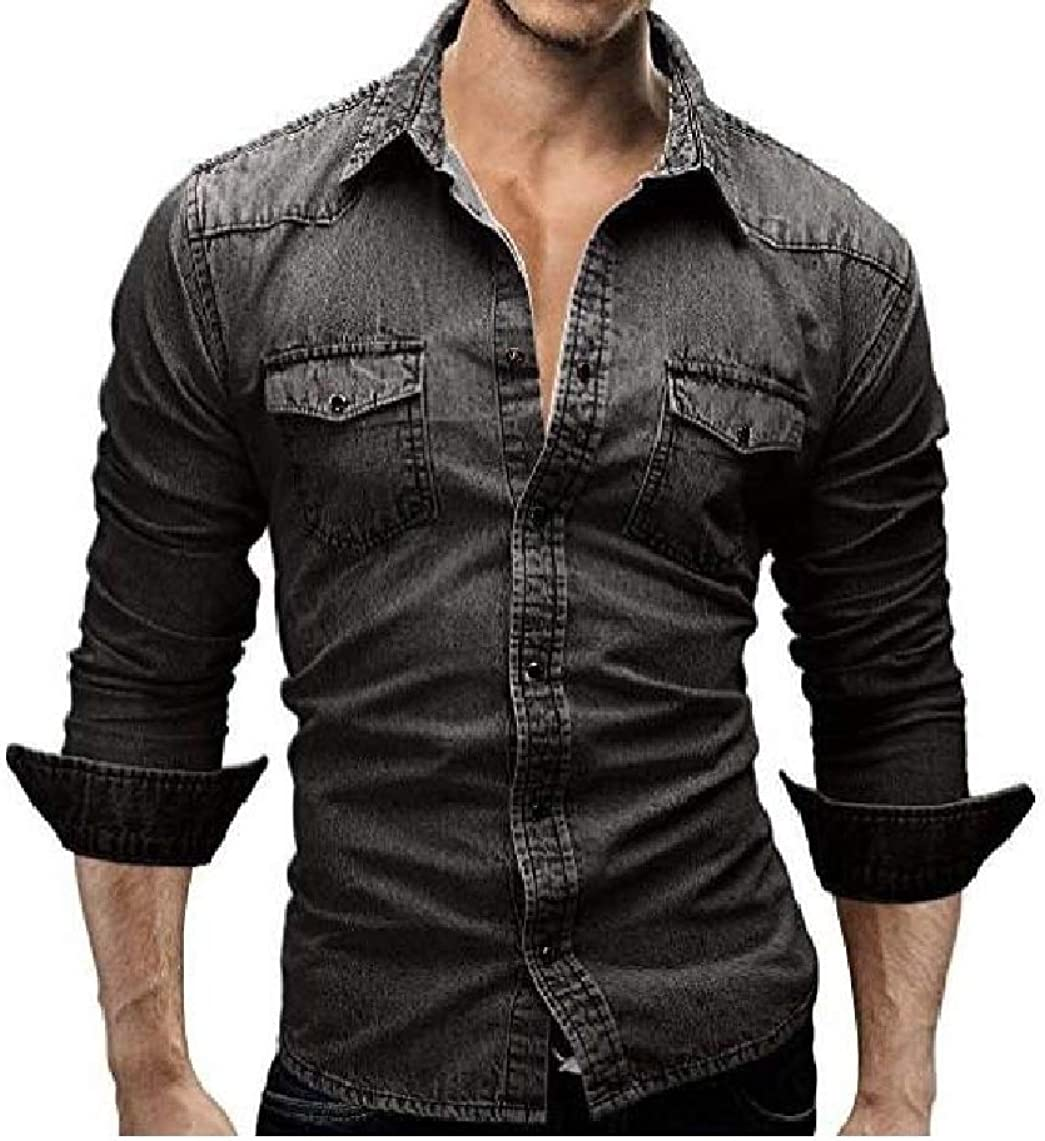 KaWaYi Mens Business Slim Fit Washed Denim Business Shirts
