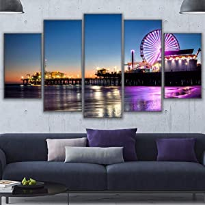 Paintings Canvas Wall Art Pictures Home Decor Living Room 5 Pieces Los Angeles Beach Pier Painting Frame Prints Ferris Wheel Poster