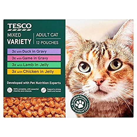 Brand Tesco Tesco - Bolsas de comida para gatos (12 x 100 g ...