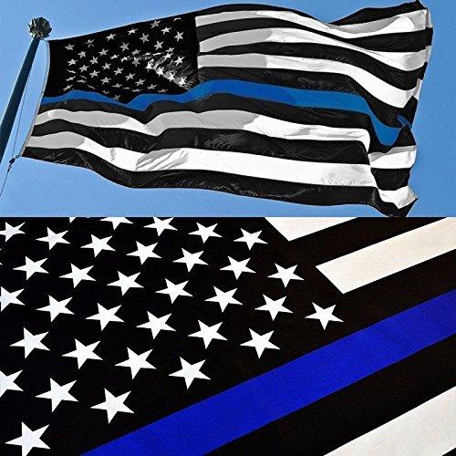 G128 - Thin Blue Line U.S. American Flag 3X5 FT Printed Star