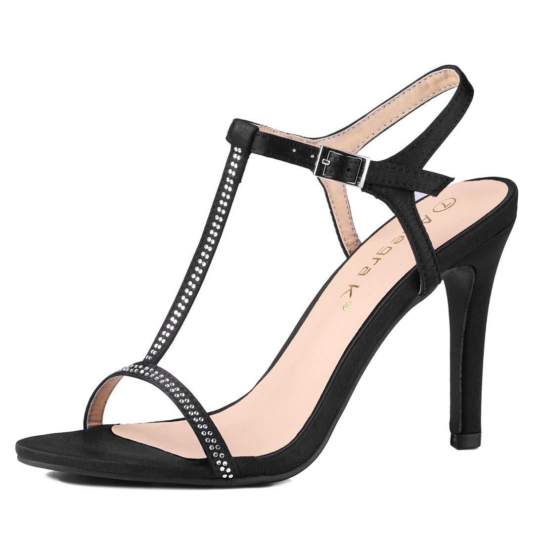 d3cd6a6a03f68 Allegra K Women's Rhinestone T-Strap Stiletto High Heel Sandals