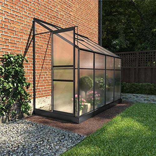 BillyOh Polycarbonate Aluminium Frame Lean-To Greenhouse Grey (4 x 8)
