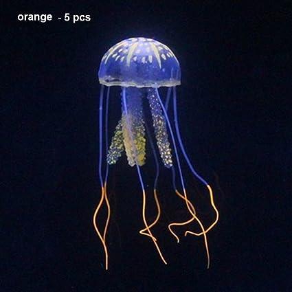 Wildlead 5pcs simulación de Peces de Medusa Tanque de Acuario decoración de Silicona Ornamentos Efecto Brillante