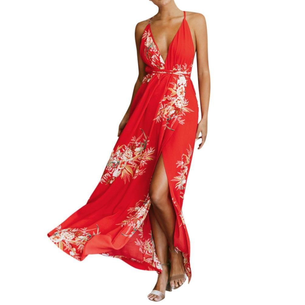 Anyren Women's Sexy Midi Dresses Tie Front V-Neck Spaghetti Strap A-Line Backless Swing Summer Beach Sundress (Red, XL)