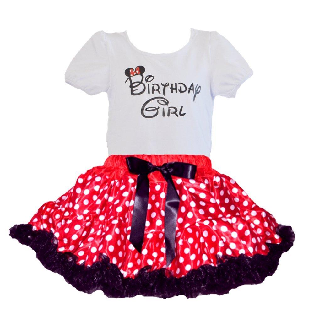 Birthday Girl T-Shirt, Red/White Polka Dots Black Ruffle Trim Tutu 2 PCs Set (Age 5/RB)