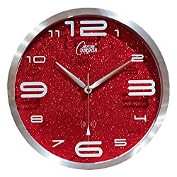 CGGGHY Continental Retro Living Room Wall Clock American Minimalist Mute Bedroom Creative Personality Mute Quartz Clock 12 Inch Silver Box Is Colorful Red Disc