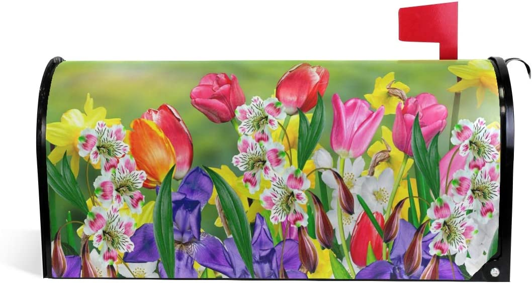 """WOOR Spring Summer Flowers Daffodils and Tulips Magnetic Mailbox Cover Oversized Garden Yard Home Decor for Outdoor-20.8""""x 25.5"""""""
