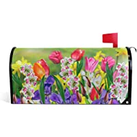 WOOR Spring Summer Flowers Daffodils and Tulips Magnetic Mailbox Cover Garden Yard Home Decor for Outdoor Standard Size-18