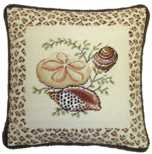 (Deluxe Pillows Sand Dollar and Two Shells - 17 by 17 in. needlepoint pillow)