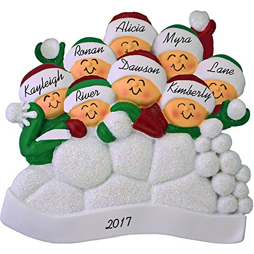 Snowball Fight Personalized Christmas Ornament (8 People) - Family Fun in the Snow - Handpainted Resin - 4