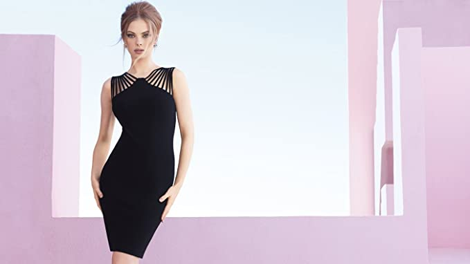 Joseph Ribkoff Halter Fitted Stretch Black Dress Style 173028 at Amazon Womens Clothing store: