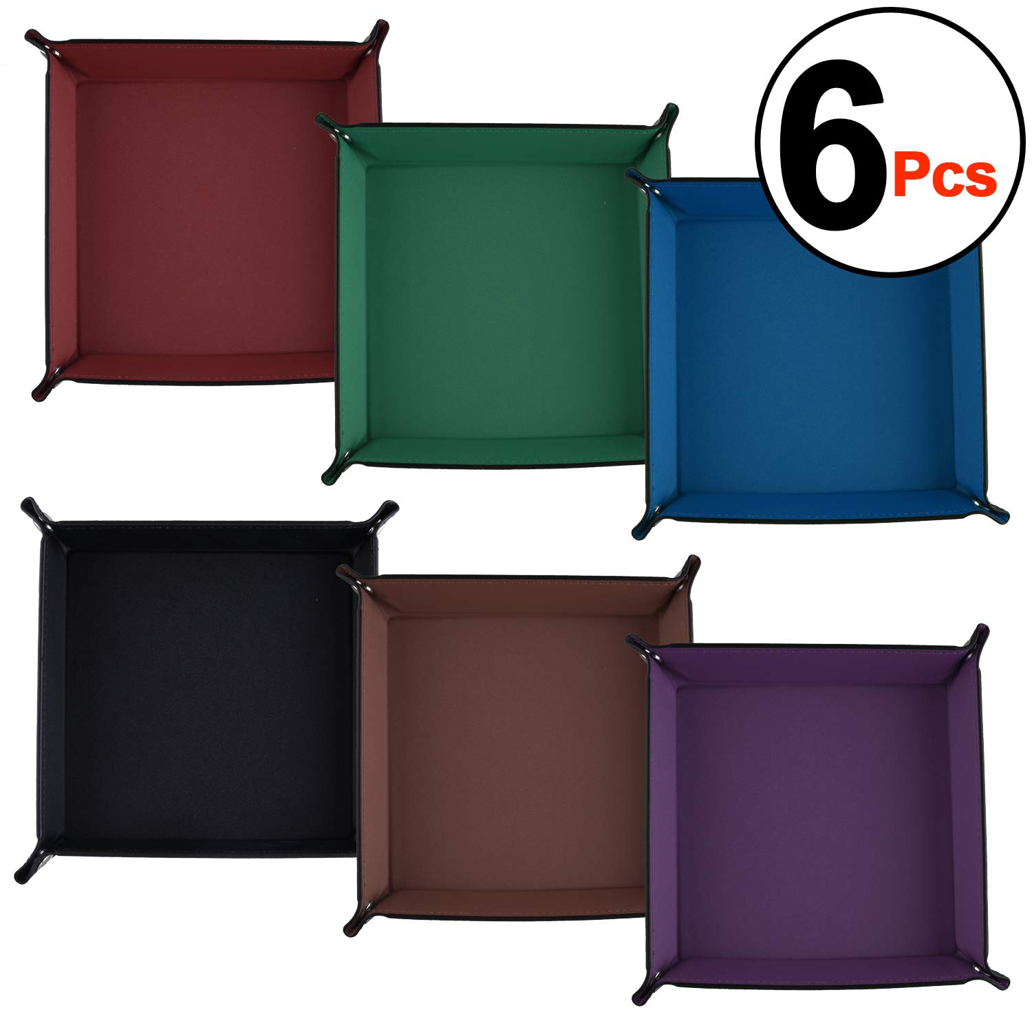 SIQUK 6 Pieces Dice Tray PU Leather Folding Square Holder for Dice Games, 6 Dark Colors by SIQUK