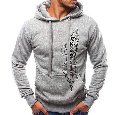 LONUPAZZ Sweat à Capuche Homme Imprimé Casual Manches Longues Sweatshirt  SurvêTements Automne Hiver 4797138508d