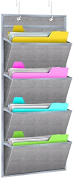 Hanging Wall File Organizer Wishacc Wall Mount Over The Door Office Supplies Storage Mail Organizer For Notebooks Planners File Folders 4 Pockets Deep Gray Office Products
