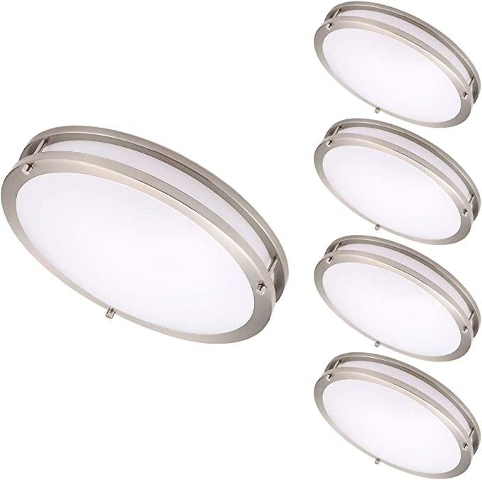 Ostwin 4 Pack 14 Inch Led Flush Mount Ceiling Light Dimmable Round Light Fixture Brushed Nickel Finish Plastic Shade 21 Watts 120w Eq 1470 Lm 5000k Daylight Etl Listed Home Improvement Amazon Com