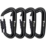Favofit Auto Locking Carabiner Clips, 4 Pack, 12KN (2697 lbs) Heavy Duty Caribeaners for Camping, Hiking, Outdoor & Gym etc, Twistlock Carabiners for Dog Leash & Harness