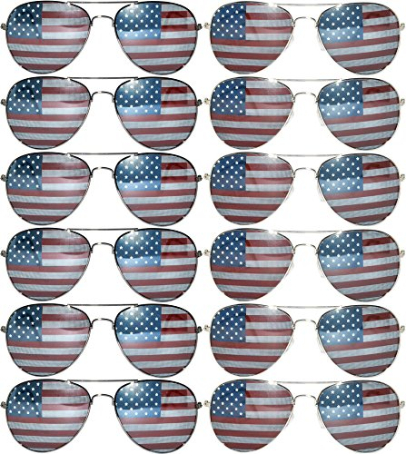 Classic Aviator Sunglasses American Flag USA Lens Frame 12 - Flag With American Lenses Sunglasses