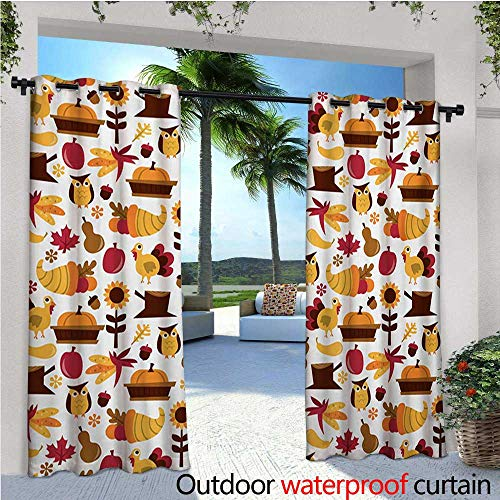 - homehot Harvest Outdoor Blackout Curtains Cute Cartoon Fall Composition Nuts Maple Leaves Owls Roosters Pumpkins Outdoor Privacy Porch Curtains W72 x L84 Yellow Brown Red Orange