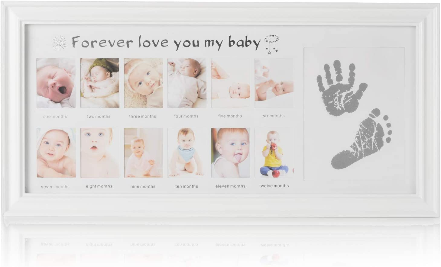 Olele Babies Memorable Keepsake Set Picture Frame with Non-Toxic Clay//Ink/ Best Shower//Birth Registry Gifts for Newborn Infant Ink TypeA Baby Handprint/&Footprint Kit//Baby First Year Photo Frame