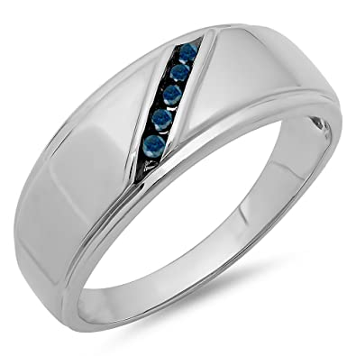Blue Diamond Mens Wedding Band   Dazzlingrock Collection 0 13 Carat Ctw Sterling Silver Round Blue