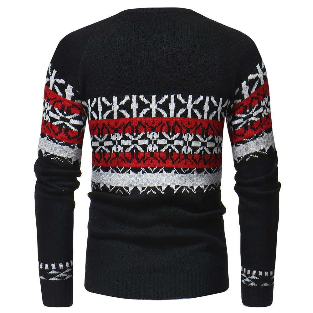 Bolayu Fashion Mens Autumn Winter Pullover Knitted Cardigan Coat Print Sweater Jacket Outwear