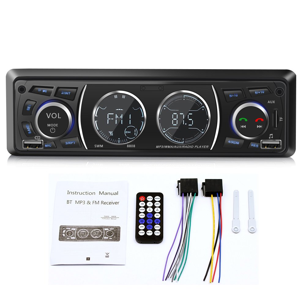 Ironpeas Car Stereo Receiver with Bluetooth, Single Din Univeral Car Radio, USB/TF Slot/FM/WMA/MP3 Player, Wireless Remote Control Included