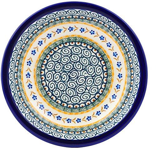Polish Pottery 9-inch Pasta Bowl (Tiny Daisy Dots Theme) + Certificate of Authenticity ()
