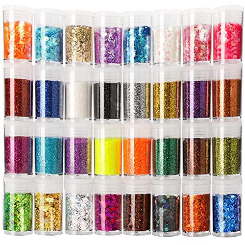 Glitter fino y  lentejuelas hexagonales- 32 frascos (16/16)